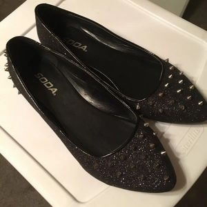 Black Glitter Punk Spiked Flats